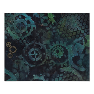 Steampunk Gears Painting Poster
