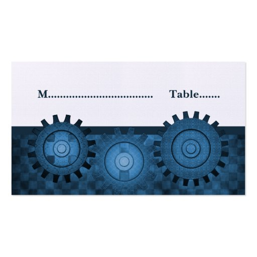 Steampunk Gears Place Card, Blue Business Card Template