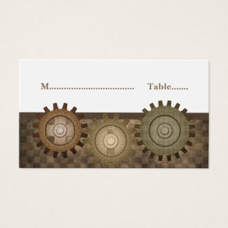 Steampunk Gears Place Card, Brown Business Card