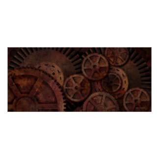 Steampunk gears posters