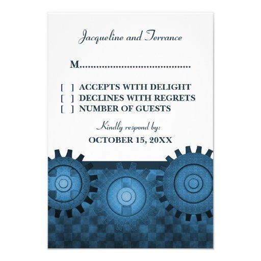 Steampunk Gears RSVP Card, Blue