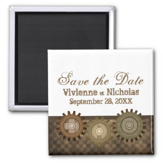 Steampunk Gears Save the Date Magnet, Brown Magnet