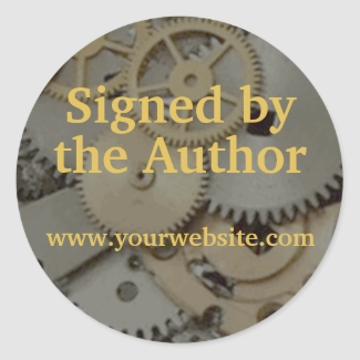 Steampunk Gears Signed by Author Stickers Custom