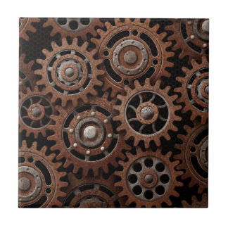 Steampunk Gears Small Square Tile