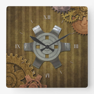 Steampunk Gears Square Wall Clock