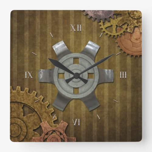 steampunk gears square wallclocks
