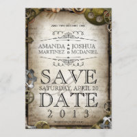 Steampunk Gears Victorian Save the Date