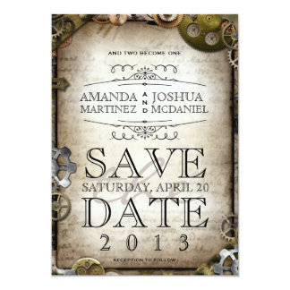 Steampunk Gears Victorian Save the Date Card