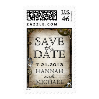 Steampunk Gears Victorian Save the Date Postage