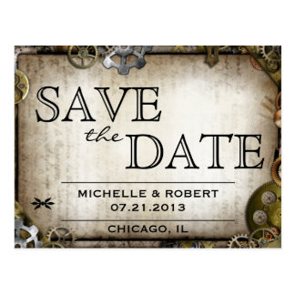 Steampunk Gears Victorian Save the Date PostCard