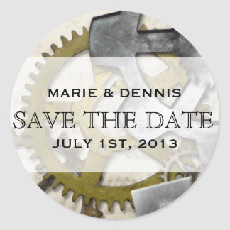 Steampunk Gears Victorian Save the Date Stickers