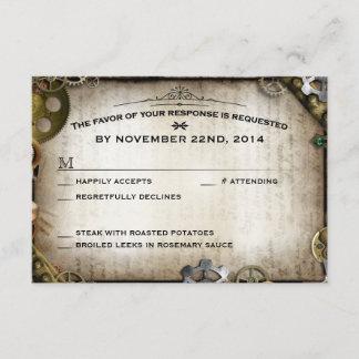 Steampunk Gears Victorian Wedding RSVP Response