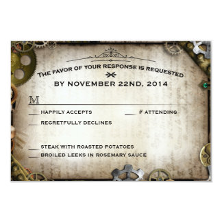Steampunk Gears Victorian Wedding RSVP Response Personalized Announcements