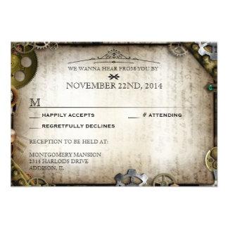Steampunk Gears Victorian Wedding RSVP Response Invitations