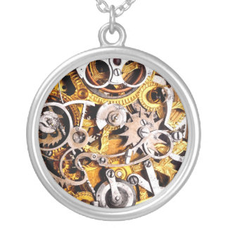 Steampunk Gears Vintage Steam Punk Machine Charm Silver Plated Necklace