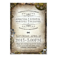 Steampunk Gears Vintage Victorian Wedding Invite
