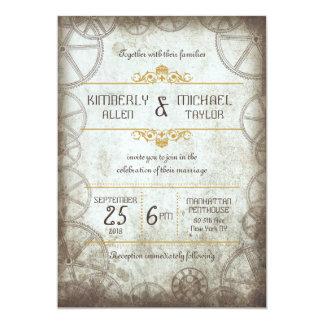 Steampunk Gears Wedding 5x7 Paper Invitation Card