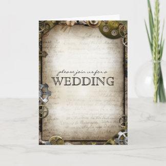 Steampunk Gears Wedding Invitation Greeting Cards
