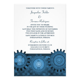Steampunk Gears Wedding Invite Blue
