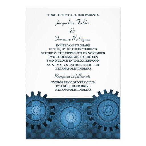 Steampunk Gears Wedding Invite, Blue