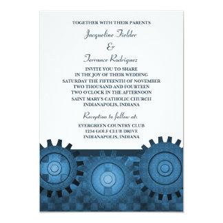 Steampunk Gears Wedding Invite, Blue Invitation
