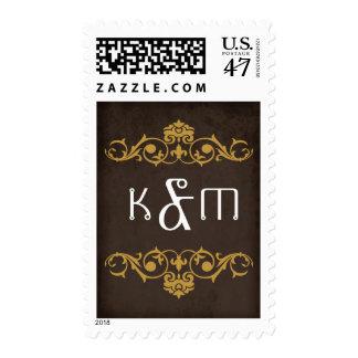Steampunk Gears Wedding Monogram Stamp