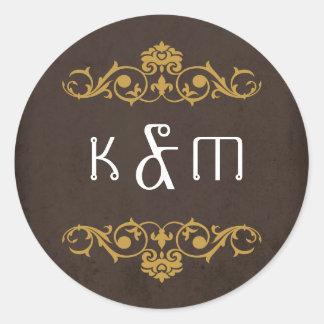 Steampunk Gears Wedding Monogram Round Stickers