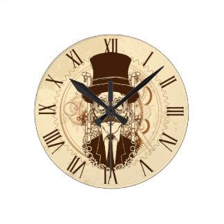 Steampunk Gentleman Round Clock