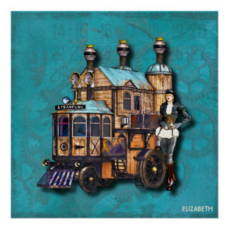 Steampunk Girl And Fantasy Locomotive Machine Poster