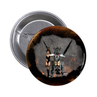 STEAMPUNK GIRL AND STEAM DRAGON BURN IT UP BUTTON