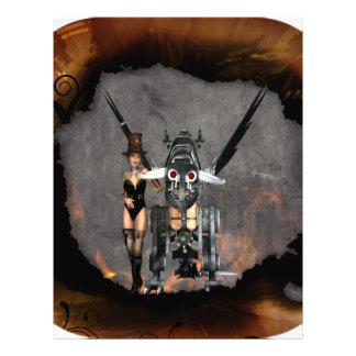 STEAMPUNK GIRL AND STEAM DRAGON BURN IT UP PERSONALIZED LETTERHEAD