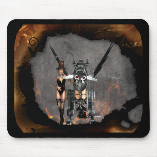 STEAMPUNK GIRL AND STEAM DRAGON BURN IT UP MOUSE PAD