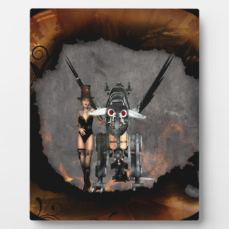 STEAMPUNK GIRL AND STEAM DRAGON BURN IT UP DISPLAY PLAQUES