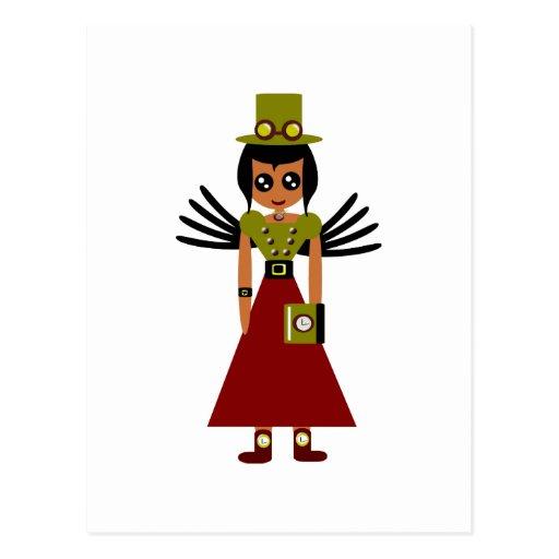 Steampunk Girl Goal Keeper of Time Postcard