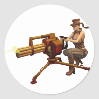 Steampunk Girl with Gun Classic Round Sticker