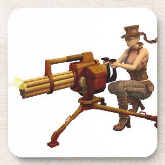 Steampunk Girl with Gun Coasters
