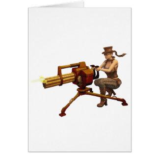 Steampunk Girl with Gun Greeting Card