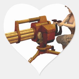 Steampunk Girl with Gun Heart Sticker
