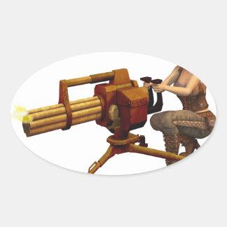 Steampunk Girl with Gun Oval Sticker