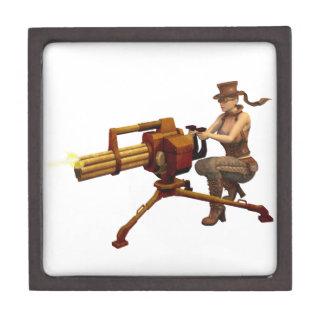 Steampunk Girl with Gun Premium Jewelry Boxes