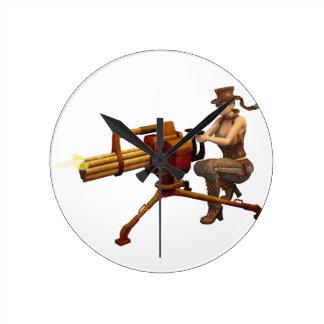 Steampunk Girl with Gun Round Wallclock