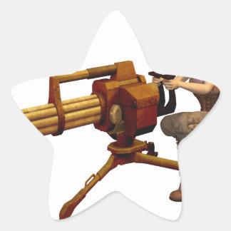 Steampunk Girl with Gun Star Sticker