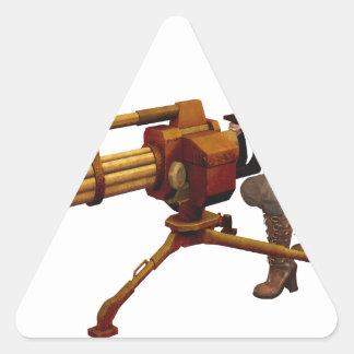 Steampunk Girl with Gun Triangle Sticker