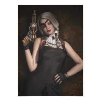 Steampunk girl with pistol invitation