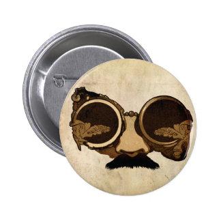 Steampunk Goggles and mustache Pinback Button