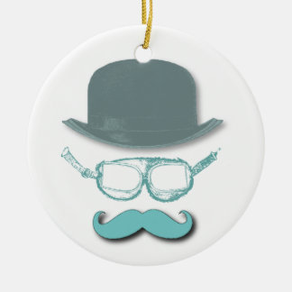 Steampunk Goggles, Hats and Mustaches Ceramic Ornament
