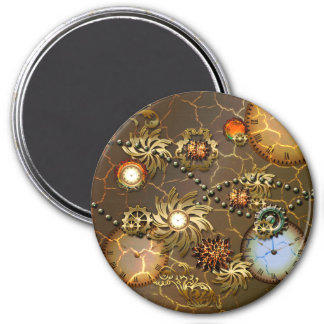 Steampunk golden design with clocks and giers 3 inch round magnet