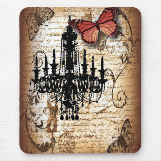 steampunk goth butterfly paris vintage chandelier mouse pad