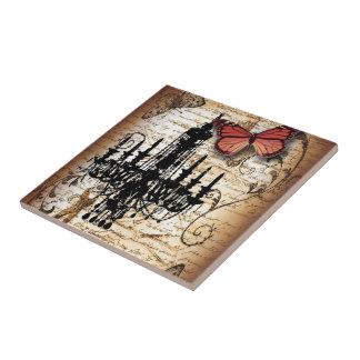 steampunk goth butterfly paris vintage chandelier tile