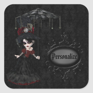 Steampunk Goth Girl Black Personalized Stickers